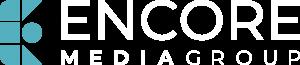 Encore Media Logo - Main - Light Blue & White